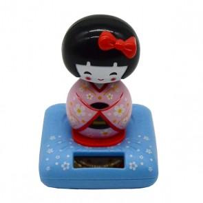 Boneca japonesa Kokeshi solar rosa