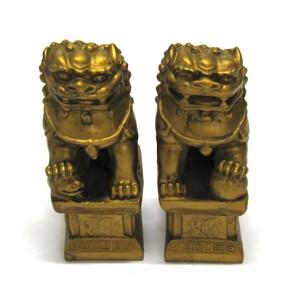 Leão guardião chinês protetores dourado