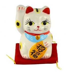 Gato da sorte maneki neko com almofada: direita